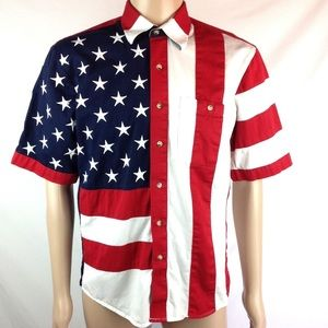 Scully Show Your Stars & Stripes Button Shirt M